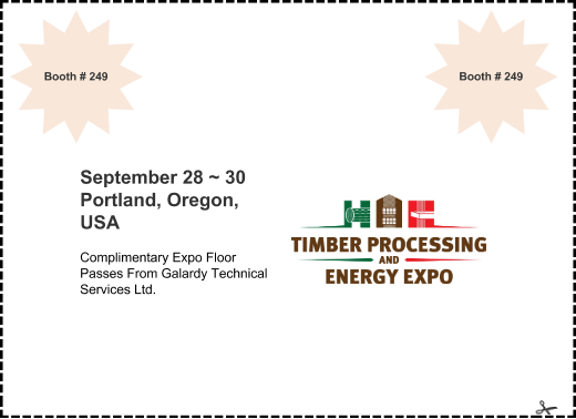 offer: September 28 ~ 30 Portland, Oregon, USA sponsor: Complimentary Expo Floor Passes From Galardy Technical Services Ltd. expires: Sun 1 Nov 2015 corner: Booth # 249